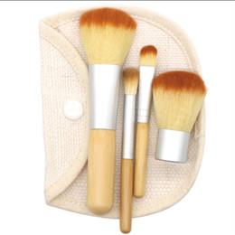 $enCountryForm.capitalKeyWord UK - Hot Selling 4pcs lot New BAMBOO Makeup Brush Set Make Up Brushes Tools blush Foundation base brush with bag