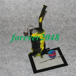 Oil Barrel Drum Canada - Hookah Silicone Barrel Rigs Mini Silicone Bongs Water pipe Silicon Oil Drum Rigs with quartz nail and dabber tool silicon mat silicon jar