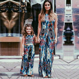 Match Clothing Mom Baby NZ - Mother Daughter Clothes Family Matching Outfits Printed Sundress Baby Girl and Mommy Summer Beach Maxi Dress Kids Mom