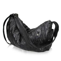 2017 Sheepskin Women s Shoulder Bag Large Ladies Handbag Genuine Leather  Hobos Bag Black Women Handbags Totes Messenger Bags de4509917f1fe