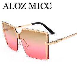 76c2ae9d417 ALOZ MICC Moda Gafas de sol cuadradas de gran tamaño Mujeres Metal Medio  degradado Gafas de sol Diseño de marca Mujer Tonos Gafas UV400 A549