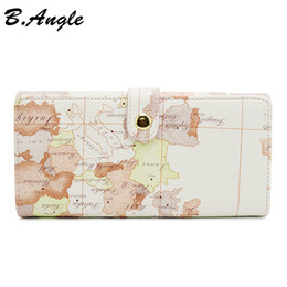 Discount cell phone card wallet - New High Quality White World Map Fashion Wallet Brand Design Lady Long Clutch Change Card Wallet