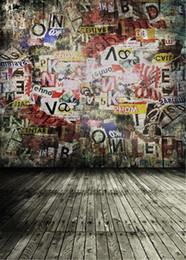 graffiti backdrops NZ - Retro Vintage Graffiti Wall Background Photography Printed Alphabets Kids Children Photo Studio Picture Shooting Backdrops Wood Floor