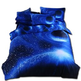 Discount blue moon beds - Svetanya Moon Star Galaxy bedding sets twin full queen size Universe Outer Space 4pc duvet cover set with bedsheet pillo