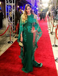 Chinese  Dubai Abaya Kaftan Evening Dress 2018 With Detachable Cape Middle East O-neck Appliques Evening Gowns Red Carpet Celebrity Formal Dress manufacturers