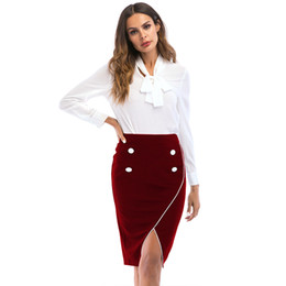 Faja delantera online-S-3XL mujeres oficina de trabajo falda formal de la  marca c7afdc1189f7