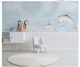 $enCountryForm.capitalKeyWord Australia - Wholesale-Customized photo wall mural wallpaper Nordic minimalist hand-painted Mediterranean whale penguin children's room background wall