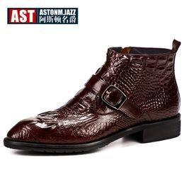 office men ankle shoes 2019 - Hot Sale Crocodile Grain Boots Men Full Grain Leather Buckle Belt Office Shoes Zip Retro Pointed Toe Winter Man Boots di
