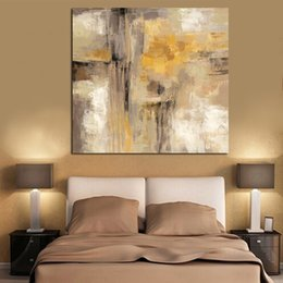 Art Canvas Prints Australia - 1 Piece HD Print Yellow Gray Abstract Oil painting on Canvas Professional Art Poster Wall Picture for Living Room No Framed