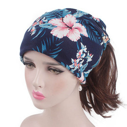 $enCountryForm.capitalKeyWord Australia - New Trendy Women India Muslim Stretch Retro Print Turban Hat Head Scarf Wrap Casual Cap High Quality Accessories