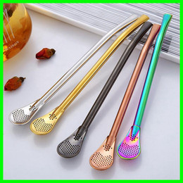 $enCountryForm.capitalKeyWord NZ - Colorful Bombilla Straw Filters Stainless Steel Drinking Straw Spoons Tea Filter Reusable Yerba Mate Coffee Straws