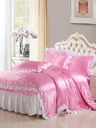 beautiful bedding sets 2020 - 4 Pcs Home Linens Sweet Style Beautiful Ruffles Decor Soft Bed Skirt Set cheap beautiful bedding sets