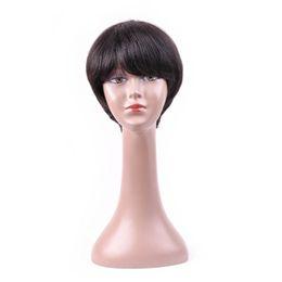 $enCountryForm.capitalKeyWord UK - Human Hair Pixie Cut Wigs Brazilian Short Human Hair Wigs With Bangs Non-Remy Natural Wave For Women