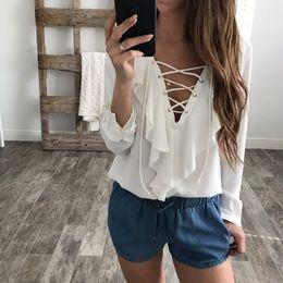 8c204de7cef73b Celmia 2018 Mode Frauen Chiffon Bluse Sexy Lace Up V-ausschnitt Rüschen  Langarm Schwarz Weiß Tops Shirts Plus Größe Casual Blusas