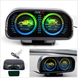 Inclinomètre à rétroéclairage à DEL vert Indicateur d'équilibre de compas automatique Inclinaison de l'indicateur de l'inclinaison de l'inclinaison de la voiture 12V Voiture tout terrain AAA310 à deux canons en Solde