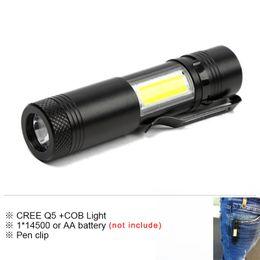 $enCountryForm.capitalKeyWord Australia - Mini Pen clip Led Flashlight Q5 COB Work Light Waterproof Lamp Linterna Rechargeable Lanterna for 14500 or AA Battery