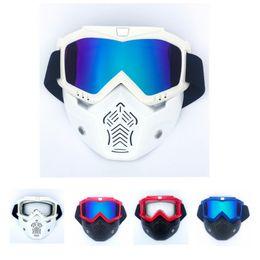 17ca119c04 Gafas de motocross Gafas Máscaras antipolvo con motocicleta desmontable  Gafas oculos y filtro bucal para cascos abiertos de época