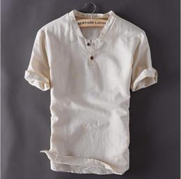 Linen Slim Shirts Australia - Mens Linen Shirts Short Sleeve Summer Breathable Mens Quality Casual Shirts Slim Solid Color Shirts Men
