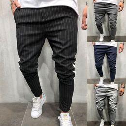 Опт Мужская Саржа Моды бегуном брюки 2018 новая полоса городской прямые повседневные брюки тонкий фитнес длинные брюки S-3XL