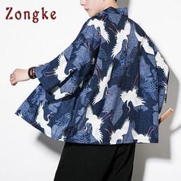 Chinese Long Kimono UK - Zongke Chinese Style Kimono Cardigan Men Crane Printed Long Black Kimono Cardigan Men Casual Jacket 2018 Summer