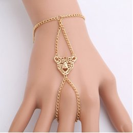 chain finger rings Canada - Vintage Harness Hand Chain Leopard Head Bangle Slave Chain Gold Tone Hand Bracelets Finger Ring Bracelets