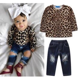 BaBy pants holes online shopping - INS Baby girls outfits children Leopard print top Holes Denim pants set fashion Spring Autumn kids Clothing Sets C5399