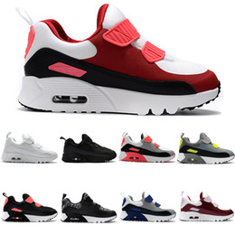 Air Sports Shoes Black Red Canada - Zoom Air KTINY 90 V2 Running Shoes Slip-On Children Athletic Shoes Boys Girls Training Sneaker Kids Sports Shoes Black White Red Size 28-35