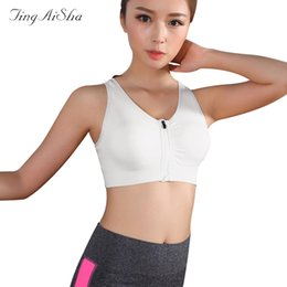 2aa097608d TingAiSha Women Fitness vest Bra Lingerie Padded Wirefree Shakeproof  Underwear Push Up Seamless Front Zipper Top Bra Elsa2028