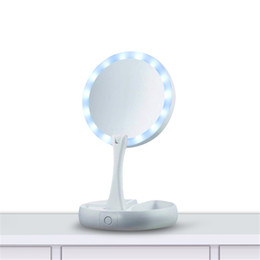 Round Mirror Glass Lights UK - Adjustable Portable Mirror My Fold Away LED Makeup Mirror Professional 10X Vanity Mirror with Lights Health Beauty Tool