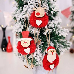 3pcs set red white merry christmas santa snowman reindeer doll christmas tree hangs christmas decorations drop ship 110214