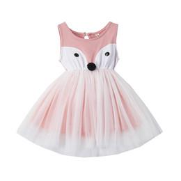 Cute Dresses For School UK - Cute Baby Girl Dress Cartoon Animals Fox Dress Princess Girl Party Wear Dresess For Children School Dress Baby Frocks Outfits