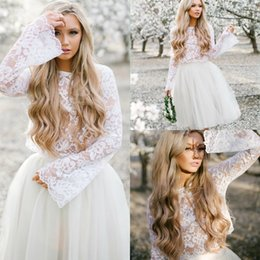 Discount wedding dresses two slits - Sexy Ivory Top Illusion Lace Country Wedding Dresses Short Knee Length Long Sleeve Two Piece Bridal Gowns Simple Bohemia