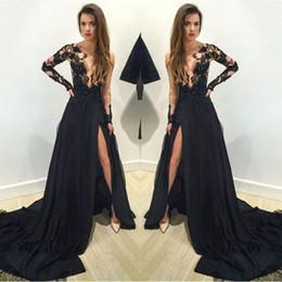 Black Floral Lace Applique Long Sleeves Split Evening Dresses 2019 Arabic  Sheer Plunging Neckline A Line Prom Party Gowns Vestidos BA1611 0be1d48cd