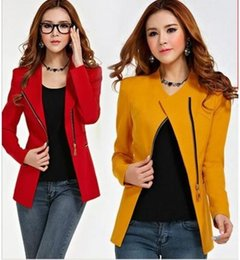 polo long coat Canada - Women Long Sleeve Zipper Suit Coat Ladies POLO Neck Solid Casual Suit Jacket Blazer Top