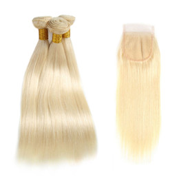 new hair weave 2019 - New Arrive Lace Closure With Bundles Straight Brazilian 613# Honey Blonde Human Hair Weave Extensions With 4x4 Free Part