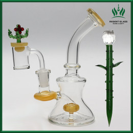 Wholesale Smoking Pipe wax Oil Dab Rig Glass Bong Water Pipes quartz banger bowl carb Cap Bongs Heady small bubbler Hookahs glass oil burner pipe