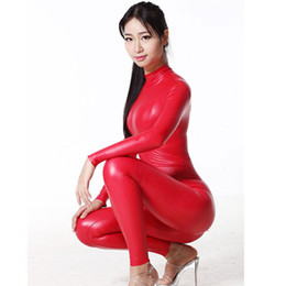 Wholesale full body latex costume for sale – halloween Sexy Women Full Body Shiny Leotard Bodysuit Latex Two Way Zipper Open Crotch Catsuit Moto Biker Club Dance Wear Plus Size Q145