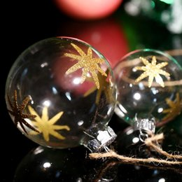 Clear Balls Australia - Blown Transparent Glass Ornament Party Christmas Ball   Gold Eight-Pointed Star  Xmas Tree Decoration Supplier Freeship DIY
