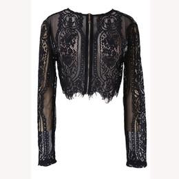 73fe09384fd New Fashion Black Lace Shirt Women Slim Lace Flore Shirt Crop Tops Long  Sleeve Sexy Blouse Spring Autumn Hollow Shirt
