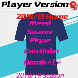 e930ba6d422 Player Version 2019 MESSI Home Soccer Jersey 18 19  7 COUTINHO Away Soccer  Shirt Customized  11 O.DEMBELE  9 SUAREZ 3rd Football Uniform