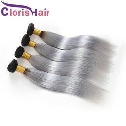 Discount 1b grey hair weave - 1B Grey Dark Roots Ombre Human Hair 3 Bundles Peruvian Virgin Silk Straight Hair Weaves Colored Two Tone Gray Straight O