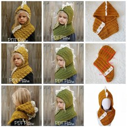 Knitting infant hats online shopping - 2 in Dinosaur scarf cap Kids AMUSE Infant Beanies Warm Knitted Hats Children cartoon warmer Winter crochet Hat Colors AAA1209