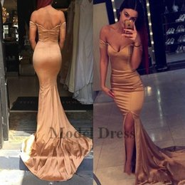 spring water sale Canada - New Design Sexy Gold Evening Dresses Off Shoulder Sweetheart Mermaid Side Split Elegant Evening Gowns Formal Sweep Train Hot Sale 2018 Cheap