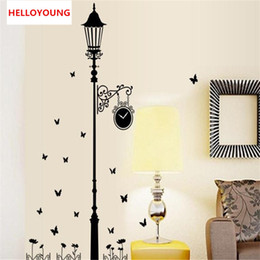 Black Korean Style Glasses Australia - Removable Modern minimalist style black lights butterfly wall stickers Livingroom bedroom Home Decoration stickers