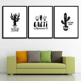 Letter Art Pictures NZ - Minimalism Art Printed Giclee Cartoon Cactus Letter Nordic Style Canvas Painting Posters Wall Pictures For Living Room Poster