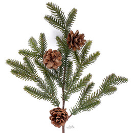 Tree Branches UK - 3pcs Dried Real Pine Nuts With Artificial Plastic Pine Branch Pinaster Leaves For Christmas Tree Party Home Decorations Flowers