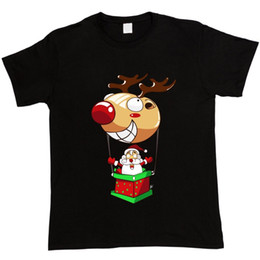 $enCountryForm.capitalKeyWord NZ - T Shirts Funny Short Sleeve Men Top Santa Flying In Red Nose Reindeer Hot Air Balloon Christmas Xmas O-Neck T Shirt