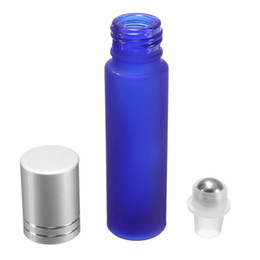 roller ball glass vials 2019 - High Quality Blue Frosted 10ml Glass Roller Vial Essential oil bottles with Silver Plastic Cap And Metal Roller Ball 700
