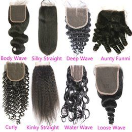 Discount unprocessed human hair piece - Raw Virgin Indian Hair Lace Closure Free Middle 3 Part Water Wave Top Lace Closures Piece Bleached Knots Unprocessed Hum