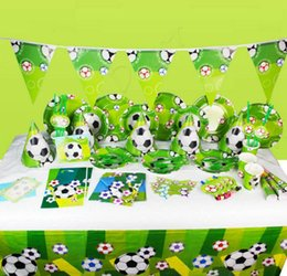 Discount theme party supplies wholesale - Kids World Cup Sports Football Theme Birthday Party Supplies Tableware Set Napkin Cups Tablecloth Flag Kids Favor Party